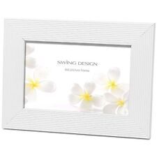 Original Linia White Solid Wood Elegant 4x6 Photo Picture Frame by Swing Design