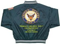 USS PRINCETON  CV/CVA-37  CARRIER DELUXE EMBROIDERED 2-SIDED SATIN JACKET