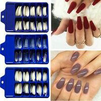 100Pcs Pro Long Full Cover False Acrylic Fake Nails Art Tips Manicure Tool Kits