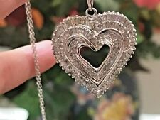 Diamond Heart Pendant Necklace in Sterling Silver (approx 3/4 ct. t.w.)