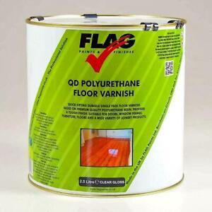 Flag Quick Drying (QD) Polyurethane Floor Varnish Gloss & Satin,  1 & 2.5 Litres