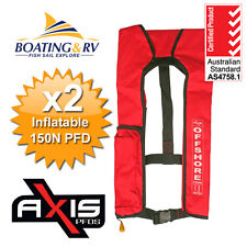 2 X Manual Inflatable Life Jacket Axis Offshore Red 150n Boating Lifejacket PFD