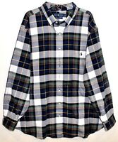Polo Ralph Lauren Big Tall Mens Blue Green White Plaid Flannel Shirt NWT XLT