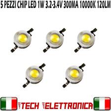 5x Chip led 1W bianco freddo 250-300mA 3.2V 3.4V alta luminosità 10000k
