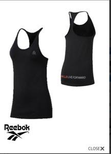 New Womens Reebok Les Mills Skinny Tank Top In Black (sizes 2XS, XS, M, L)