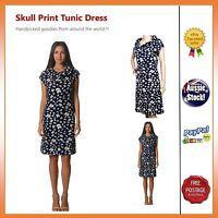 Women Retro Skull print Vintage Stretchable Casual Dress Tunic Size 8 10 12 14