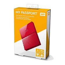 WD WESTERN DIGITAL MY PASSPORT 4TB EXTERNAL PORTABLE HARD DRIVE DISK 4 TB RED