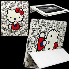 Case for Apple iPAD 2 3 4 PU Leather Folio Cover Stand White Hello Kitty