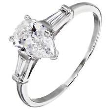 Platinum GIA Certified 3 Stone Pear Shape Diamond Engagement Ring 1.40 Carat
