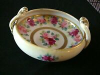 Antique Nippon Morimura Hand Painted Footed Bowl w/Gold, Two-Handled C.1911-21