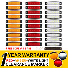 """30 X Tail Side Marker Rear Light White Amber Red 6 LED 3.8"""" Truck Trailer Cab RV"""