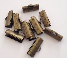 New! 100 pcs Bronze Tone Texture End Caps 16mm X 7.5mm Jewelry #146 Crimp Beads