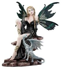 "Large Royal Queen Gothic Green Butterfly Fairy With White Dragon Statue 17""H"