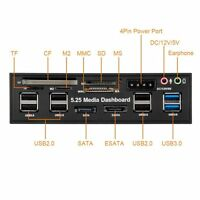 5.25 Inch USB 3.0 2.0 e-SATA SATA PC Front Panel Media Dashboard Card Reader USA