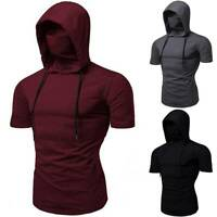 Mens Face Cover Short Sleeve Muscle Hoodie T-shirt Top Summer Gym Hooded Shirts