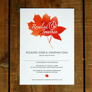 Autumn Leaves Wedding Invitation - Day Evening RSVP Save the Date Fall Leaf