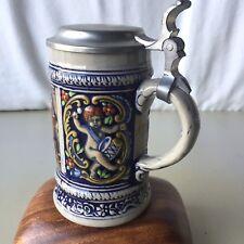 German Beer Stein Lidded Handarbeit Rein Zinn Bleifrei Mug Barware Pewter Lid