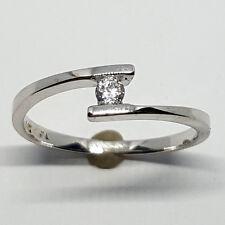 14K solid white gold 3mm white Topaz faceted round shape ring, 1.8 gram