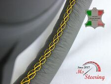 FOR IKCO ARISUN - GREY STEERING WHEEL COVER YELLOW STITCH