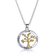 Partnerkette Lebensbaum mit Liebe Lebe Lache Familie Silber Goldfarben 1115