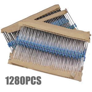 1280stk Widerstände Resistor Metallfilm 64 Werte Widerstand 1/4W Sortiment Set