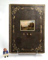 SUPERBE Portefeuille Maroquin cuir décor Minature fixé sous verre Peinture 1840