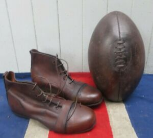 ANTIQUE VINTAGE STYLE HAND POLISHED RETRO RUGBY BALL AND LEATHER RUGBY BOOTS