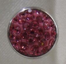 Pink Rhinestone Flat 12mm Noosa Style Snap Button Chunk