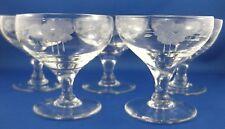 Rare Vintage STUART CRYSTAL England (5) Etched Flower FINE CHAMPAGNE GLASSES