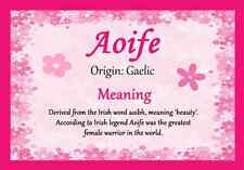 Aoife Personalised Name Meaning Certificate