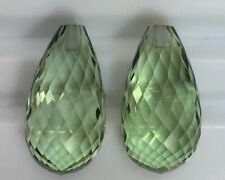 36.10Ct Wow!! Dazzling Pair Green Amethyst Briolette Shape Heated From Africa !!