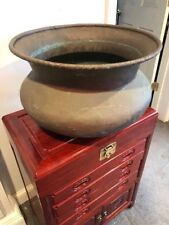 """Special! Antique Weathered Copper Bowl Planter 17"""" Across Top"""