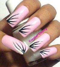 PINK BLACK White Glitter Art False Nails 20pc Press Glue On Long Full Cover Cute