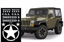 Universal Decals Jeep Wrangler Rubicon Unlimited Willy's Army Star White Vinyl
