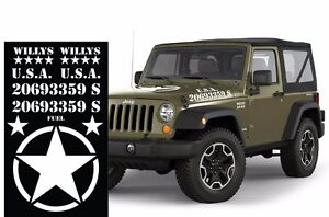 Universal Decals for Jeep Wrangler Rubicon Unlimited Willy's Army Star White