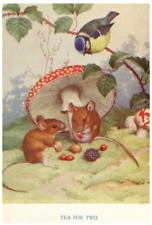 Vintage Repro Postcard: Tea for Two - Mice Have Tea, Bird, Berries, Mushrooms
