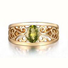 Solid 14KT Yellow Gold 100% Natural Peridot 1.50Ct Oval Shape Solitaire Ring