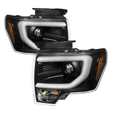 Ford 09-14 F150 Neon Tube DRL Black Projector Headlights (For Factory HID Only)