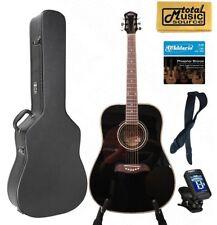 Oscar Schmidt OG2 Left Hand Dreadnought Acoustic Guitar Black Hard Case Bundle O