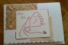 Handmade stitched  blank Congratulations cards  BABY GIRL CARD  * baby's foot *