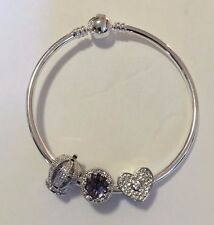 European 925 Sterling Silver Charm  Round Clasp Bracelets with Beads