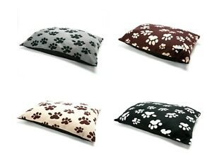 Fleece Paw Design Dog Beds Warm Pet Washable Zipped Mattress Cushion Cover/Inner