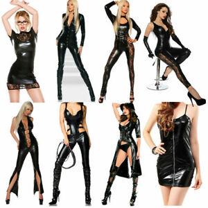 Sexy PVC Leather Women Lingerie Wet Look Costume Jumpsuit Lace-up Catsuit Black