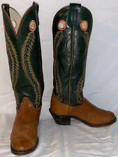 "Mens 9 D OLATHE 6902 Cowboy Western 18"" Tall Top Buckaroo USA Green Brown Boots"
