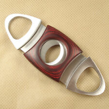 STAINLESS STEEL & RED WOOD DUAL BLADE CIGAR CUTTER CLIPPER SMOKER GIFT ACCES 8T