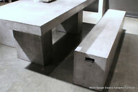 """94"""" L dining table set solid with 2 bench concrete cement modern waxed finish"""