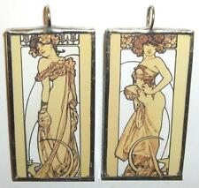 MUCHA TWO WOMEN STANDING ART GLASS PENDANT