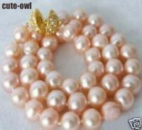Genuine 9-10mm Pink Akoya Cultured Pearl Necklace 18''AAA+ NEW