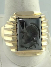 MENS 10K YELLOW GOLD HEMATITE TROJAN CARVED BAND RING 13 3/4 8.7g 22mm