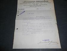 1914 L'ECONOMIA NAZIONALE LETTERA AUTOGRAFA AVV. POLO GUERRA MILANO